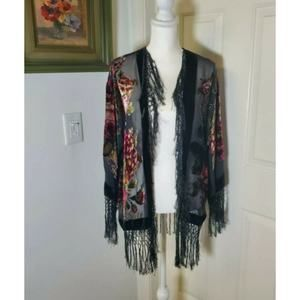 Free People One Size Silk Floral Burnout Kimono